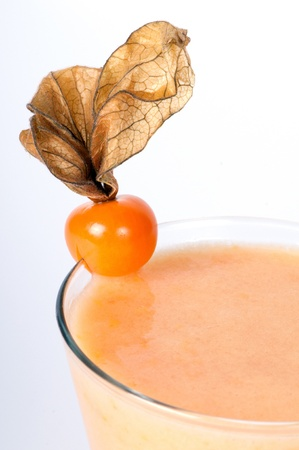 Cocktail with physalis on a white background Stock fotó