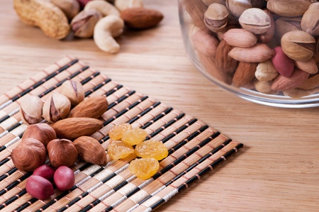 Assorted nuts on wooden kitchen table