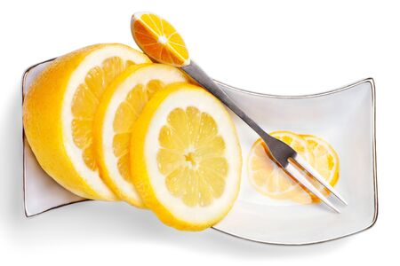Close up slices of lemon  on a white background Stock fotó