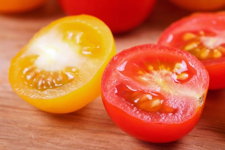 Fresh ripe tomato cherry close up Stock fotó