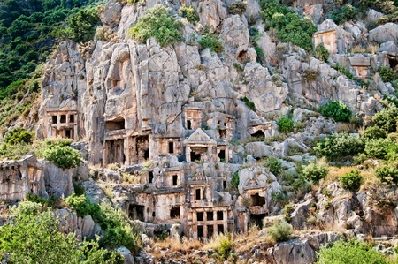 Lician tombs in the mountains in Demre  Myra , Turkey