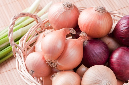 Close up of oniom in wicker basket