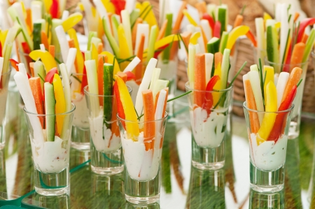 food buffet: Appetizers served in a modern style