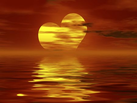 heart shaped sunset Stock Photo