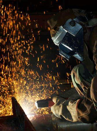 laboring: arc welder working