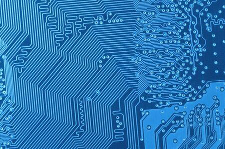 macro of blue circuit board Stock Photo