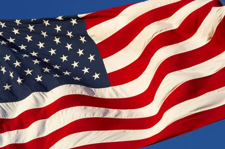 a close up picture of an american flag Stock Photo