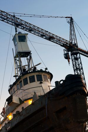 drydock: a picture of tugboat in a drydock