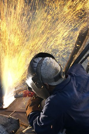 a arc welder busy at work  Stock Photo