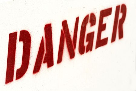 a close up picture of danger sign