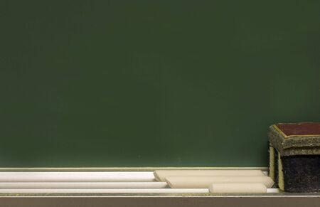 a macro of a school class room chalk board