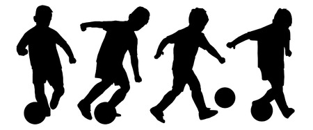 children silhouettes: kid playing soccer