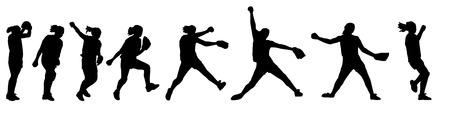 softbol: una ni�a de la lanzadora de softbol en acci�n