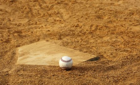 one baseball on home plate at a sports field Stock Photo - 3906757