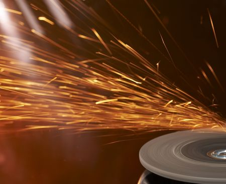 a close up picture of sparks on a grinding wheel Stock Photo - 4090108