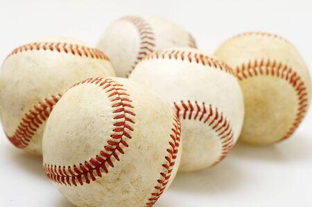 a macro of several baseballs on white Stock Photo - 4130146