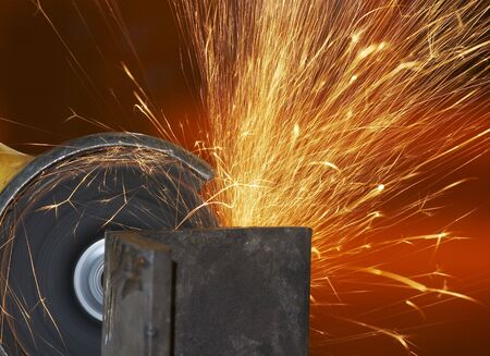 grinded: a close picture of a sparks on grinded steel Stock Photo