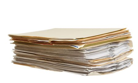 legal documents: a pile of file folders on a white background Stock Photo