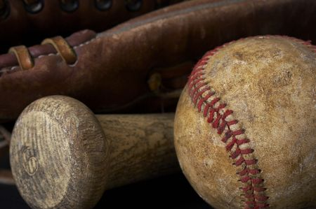 lace gloves: a macro picture of a baseball