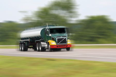 fuel truck in motion on interstate
