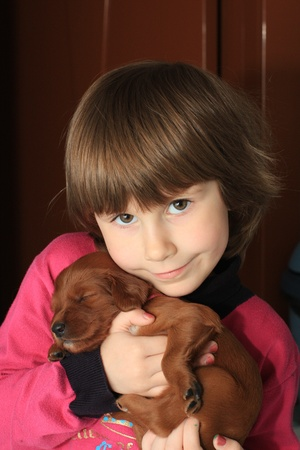 The child holds on hands of a small puppy  photo