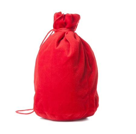 closed red christmas sack  isolated white background