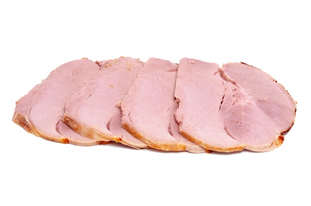abreast: pieces of pork abreast, isolated on white background