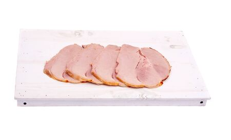 Cutting of boiled pork on white wooden board, isolated on white background Stock Photo - 11818771