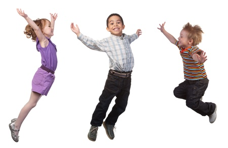 jump: Happy and smiling children jumping, over white