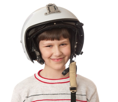 boy with helmet isolated on white background photo