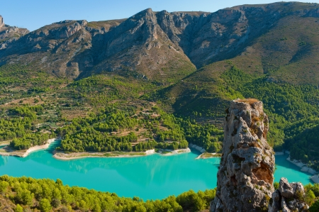 Guadalest dam in Alicante. The horizontal