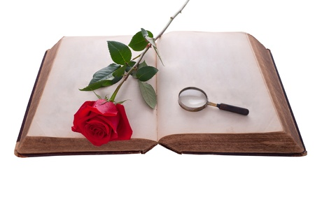 Open book with red rose and magnifying glass. Isolated on white. photo