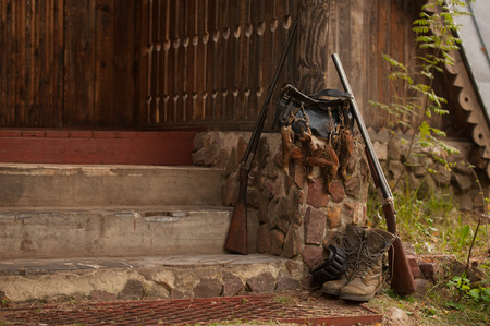 hunting birds, gun and accessories, horizontal, outdoors photo