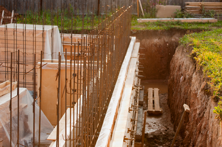 formwork: formwork for the concrete foundation, building site, horizontal, outdoors