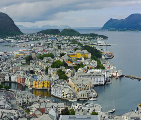 alesund: view from the mountain Aksla at the city of Alesund , Norway, panorama