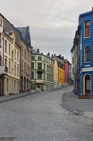 alesund: view on streets and houses at city of Alesund , Norway, vertical