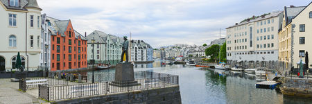alesund: view on streets and houses at city of Alesund , Norway, panorama