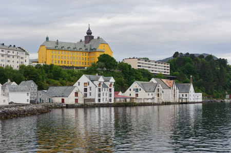alesund: view on streets and houses at city of Alesund , Norway, horizontal