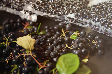 Chokeberry berries ( Aronia melanocarpa ) are packed in vacuum bags and black berries on dark table. Horizontal.