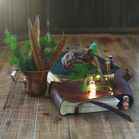 Old books, a miniature flashlight, and twigs of spruce lie on a wooden table. Close-up. Standard-Bild