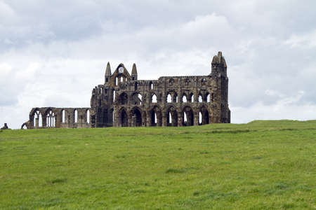 whitby: A view across the field to Whitby Abbey