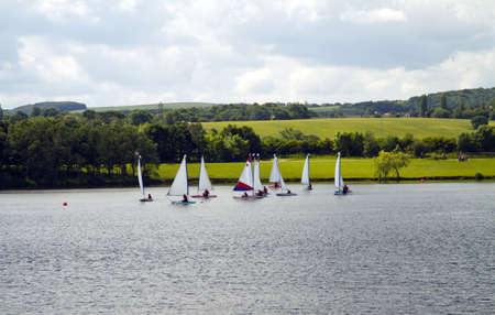 A group of boats on Pugneys water park in Wakefield,West Yorkshire