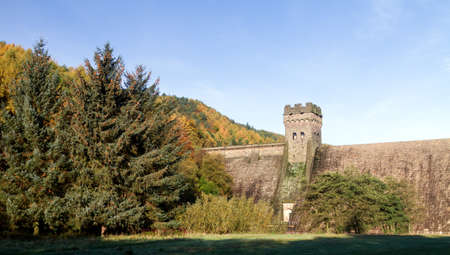 View of the west tower of the derwent dam photo