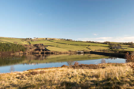 veiw of the dam end at digley reservior,Holmefirth,west yorkshire photo