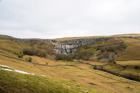 north yorkshire: View of Malham cove in north yorkshire,from the hill side in winter