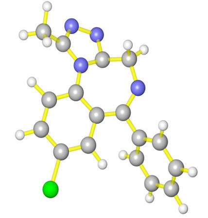Molecular model of alprazolam Stock Photo