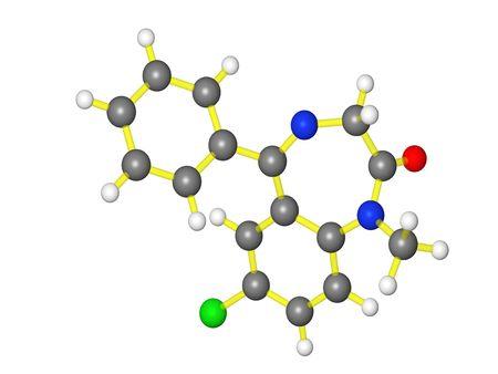 Molecular model of diazepam