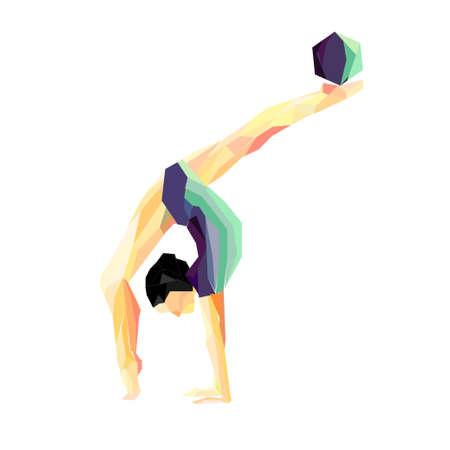 young girl bikini: girl gymnast does exercises with the ball Illustration