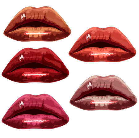 lips a different color on a white background  vector Vector
