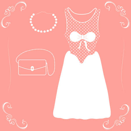 illustration of a wedding dress with shoes and handbag on a pink backgroun Vector